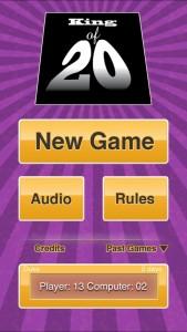 King of 20 menu screenshot