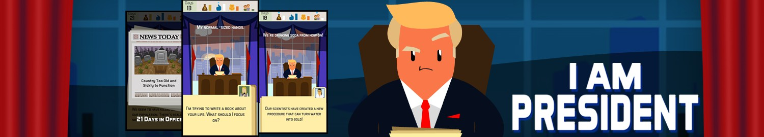 I Am President is a textual adventure game in which you are trying to maintain yourself as the president as long as you can by answering and reacting to different hypothetical situations